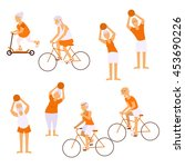 elderly people doing exercises... | Shutterstock .eps vector #453690226
