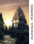 Small photo of Amazing sunrise at Prambanan Temple. Great Hindu architecture in Yogyakarta. Java island, Indonesia
