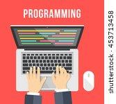 programming concept. man is... | Shutterstock .eps vector #453713458