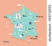 colorful map of france in retro ... | Shutterstock .eps vector #453718552