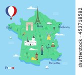 france. colorful travel maps... | Shutterstock .eps vector #453718582
