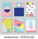 abstract memphis style cards....   Shutterstock .eps vector #453721126