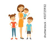 mother with kids. happy family. ... | Shutterstock .eps vector #453725932