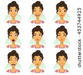set of woman expression... | Shutterstock .eps vector #453744925