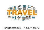 travel thin line flat style... | Shutterstock .eps vector #453745072