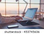 adult businesswoman working at... | Shutterstock . vector #453745636