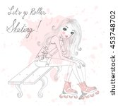 beautiful  cute girl sitting... | Shutterstock .eps vector #453748702