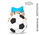baby in a hat with soccer ball. ...   Shutterstock .eps vector #453751276