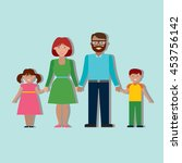 family colourful silhouette... | Shutterstock . vector #453756142