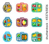 school lunch boxes set  vector... | Shutterstock .eps vector #453765856