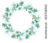 wreath with watercolor light... | Shutterstock . vector #453768502