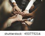 teamwork join hands support... | Shutterstock . vector #453775216