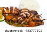 squid grilled with vegetables... | Shutterstock . vector #453777802