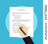 answering survey or examination ... | Shutterstock .eps vector #453778882