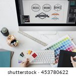designer interior working...   Shutterstock . vector #453780622