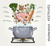 vector chicken soup ingredients ... | Shutterstock .eps vector #453791452