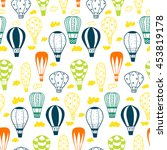 doodle textured balloons.... | Shutterstock .eps vector #453819178