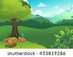 forest and mount  vector art... | Shutterstock .eps vector #453819286