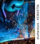 worker welding the automotive... | Shutterstock . vector #453835756