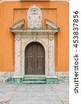 heavy wooden castle door gate... | Shutterstock . vector #453837856