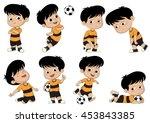 cartoon soccer kid with... | Shutterstock .eps vector #453843385