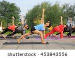 tangshan   july 3  women doing... | Shutterstock . vector #453843556