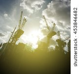 silhouette of towering... | Shutterstock . vector #453846682
