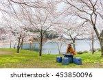 woman under sakura tree   Shutterstock . vector #453850096