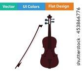 violin icon. flat color design. ...