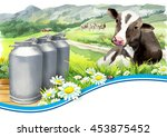 Cans Of Milk And A Cow In A...