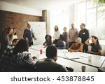 meeting discussion talking... | Shutterstock . vector #453878845