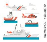 flat design coast guard vehicle ... | Shutterstock .eps vector #453880342