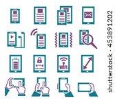 gadget  tablet  phone icon set   Shutterstock .eps vector #453891202