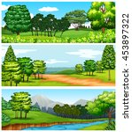 three scenes of forest and... | Shutterstock .eps vector #453897322