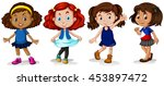 four girls with happy face... | Shutterstock .eps vector #453897472