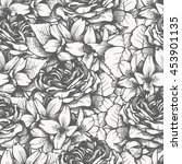 beautiful linear vintage floral ... | Shutterstock .eps vector #453901135