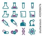 lab beakers icon set | Shutterstock .eps vector #453908476