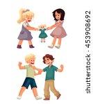 set of little girls fighting... | Shutterstock .eps vector #453908692