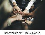 teamwork join hands support... | Shutterstock . vector #453916285