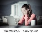 stressed out businesswoman on... | Shutterstock . vector #453922882