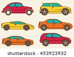 isolated vector cars set. flat... | Shutterstock .eps vector #453923932