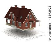 a house raised above the  floor ... | Shutterstock . vector #45393925