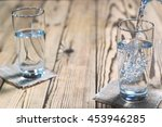 glasses of water on a wooden...   Shutterstock . vector #453946285