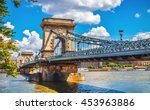chain bridge on danube river in ...   Shutterstock . vector #453963886