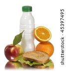 school lunch apple milk... | Shutterstock . vector #45397495