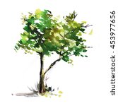 Watercolor Tree Background....