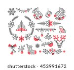 set of line winter and... | Shutterstock .eps vector #453991672