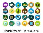 set of 24 entertainment round...   Shutterstock .eps vector #454003576