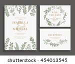 vintage wedding set with... | Shutterstock .eps vector #454013545