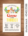 happy birthday card with cute... | Shutterstock .eps vector #454015588